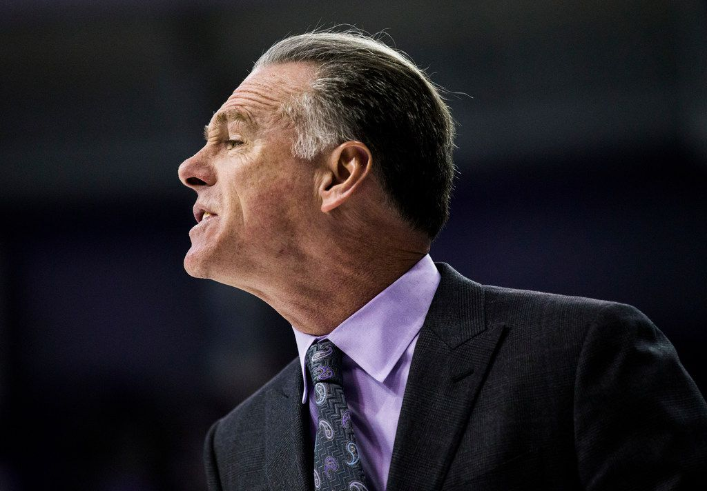 TCU Horned Frogs head coach Jamie Dixon yells from the sideline during the first half of an NCAA mens basketball game between Baylor and TCU on Saturday, February 29, 2020 at Ed & Rae Schollmaier Arena on the TCU campus in Fort Worth. (Ashley Landis/The Dallas Morning News)