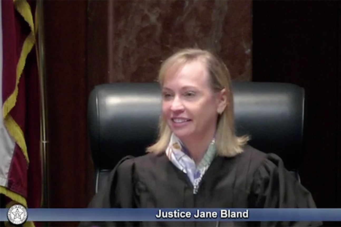 A screengrab of Texas Supreme Court justice Jane Bland.