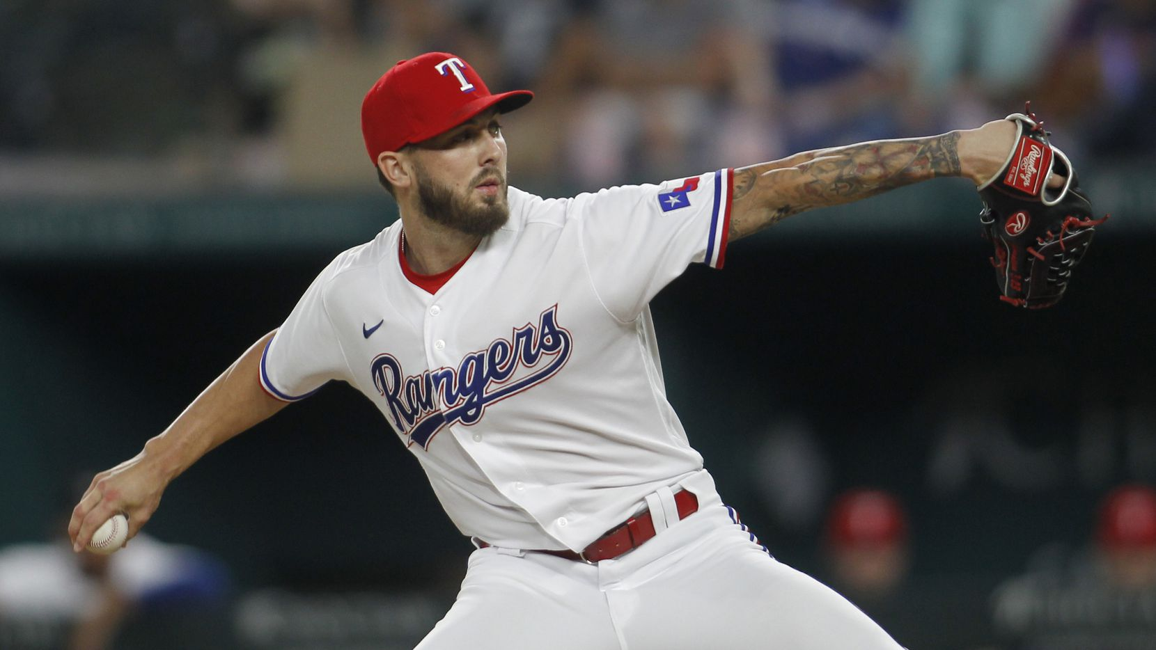 Texas Rangers pitcher Joe Barlow (68) delivers a pitch to a Los Angeles Angels batter during the top of the 8th inning of play. The Rangers hosted the Los Angeles Angels at Globe Life Field in Arlington on August 2, 2021. (Steve Hamm/ Special Contributor)
