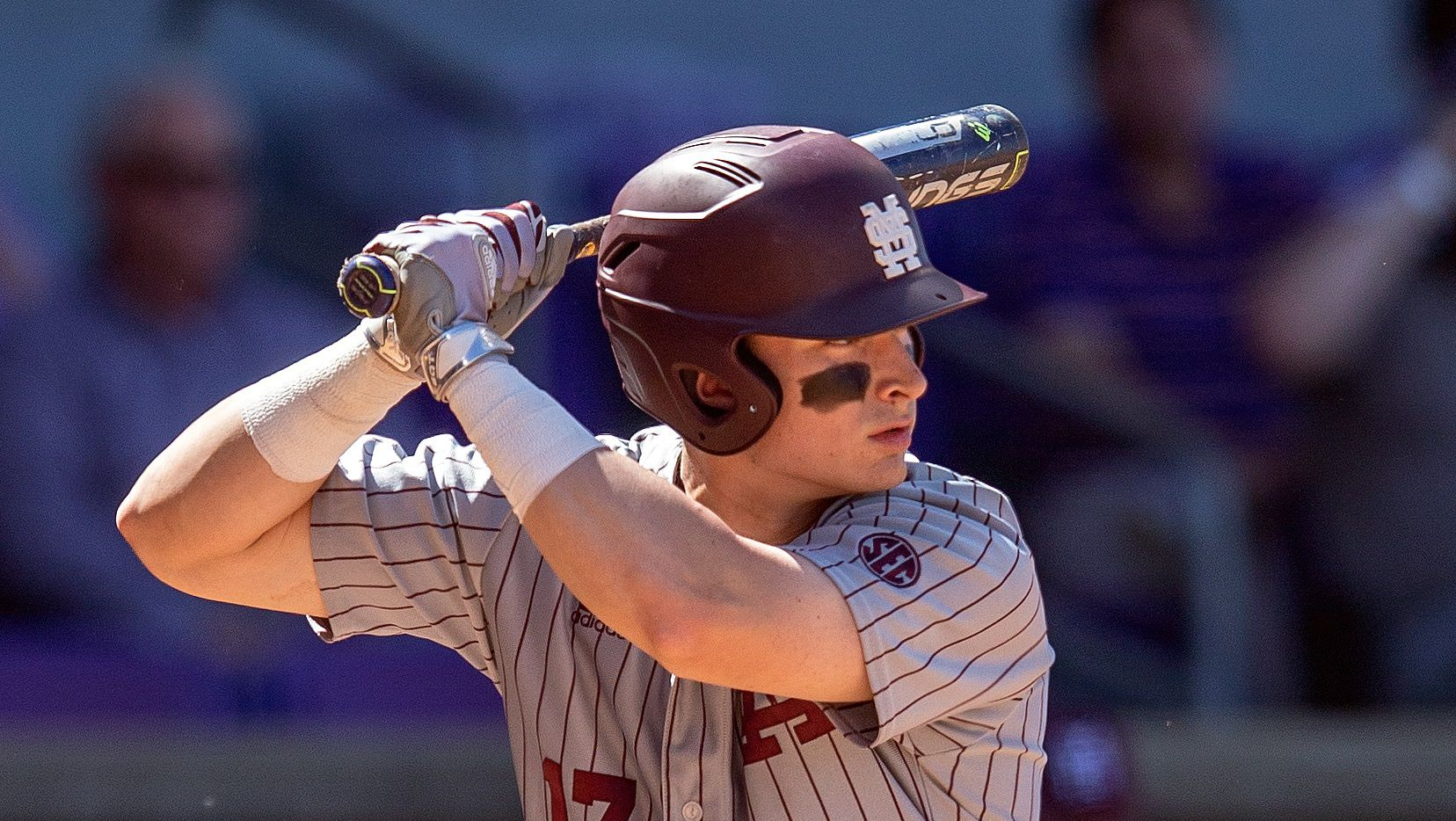 FILE — Mississippi State Bulldogs infielder Justin Foscue (17) bats during a baseball game between the Mississippi State Bulldogs and the LSU Tigers on March 31, 2018 at Alex Box Stadium in Baton Rouge, Louisiana.