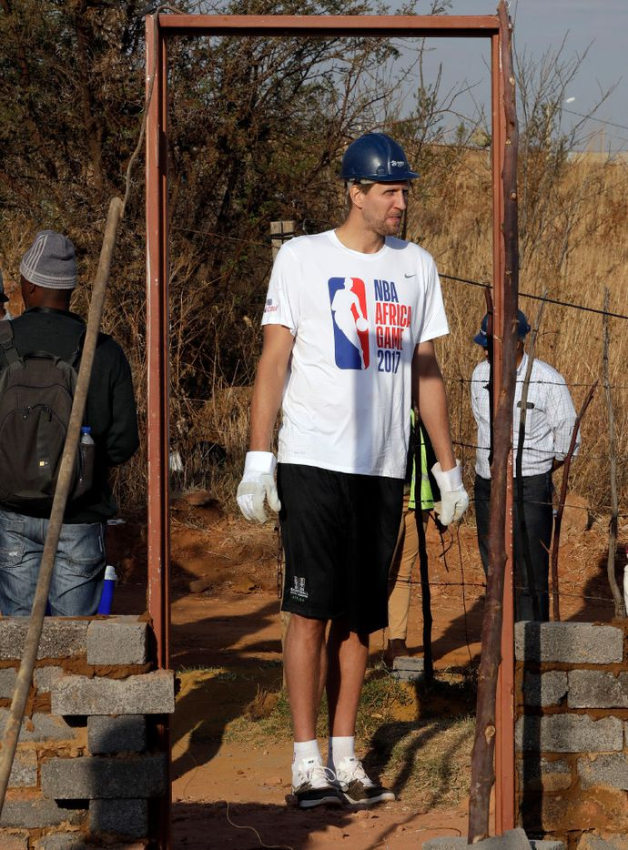 Dirk Nowitzki helped build a house in Lenasia South of Johannesburg, South Africa, as part of the NBA Africa Game, and Habitat for Humanity South Africa.