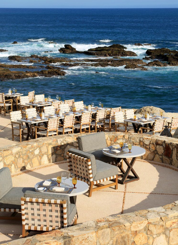 Outdoor dining is the norm at Esperanza, from all-you-can-eat breakfast buffets to romantic dinners overlooking the rocky beach.