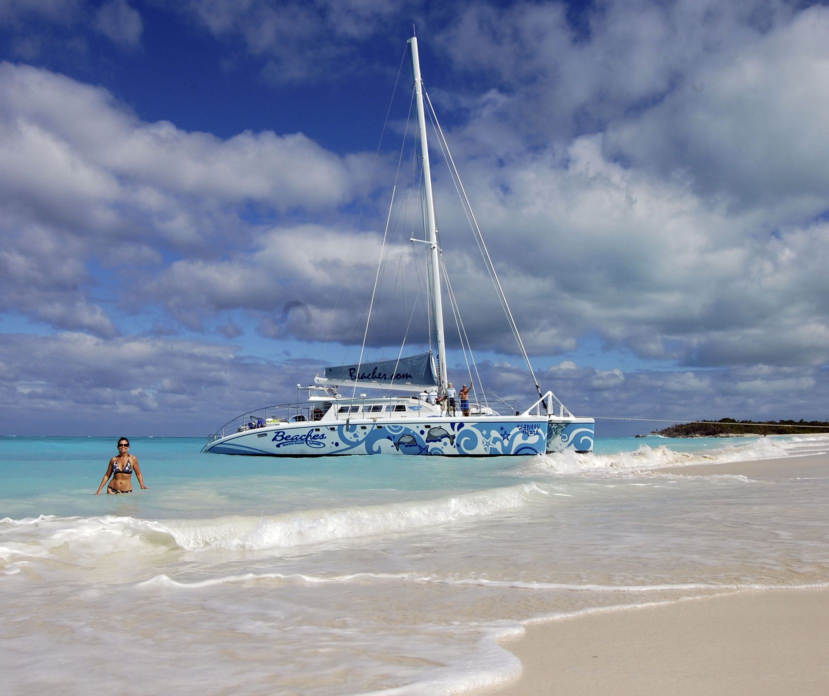 A Beaches Resort catamaran tour makes a stop at Little Water Cay in Turks and Caicos.