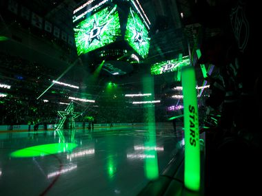 A laser light show before Game 6 of the first round of Stanley Cup Playoffs between the Dallas Stars and the Nashville Predators on Monday, April 22, 2019 at American Airlines Center in Dallas.