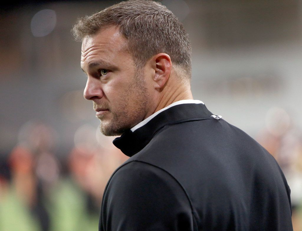 UT Longhorns head coach Tom Herman was on the sidelines in the first half of the Aledo versus Ennis high school football playoff game. The two teams played their Class 5A Division ll Regional final playoff football game at Frisco Center at The Star in Frisco on December 6, 2019. (Steve Hamm/ Special Contributor)