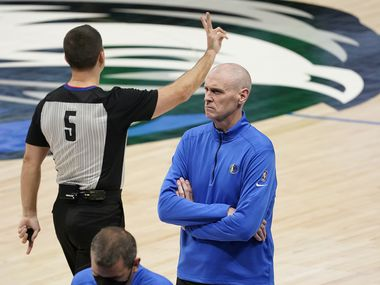 Dallas Mavericks head coach Rick Carlisle reacts to a foul call during the second quarter of an NBA playoff basketball game against the LA Clippers at American Airlines Center on Friday, May 28, 2021, in Dallas.