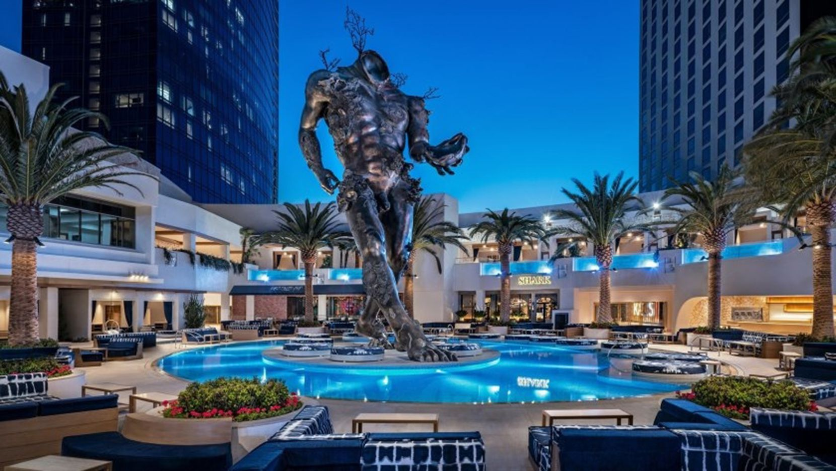 """The 60-foot-tall headless """"Demon With Bowl"""" statue will remain, but the KAOS club at Palms Casino Resort has shut down."""
