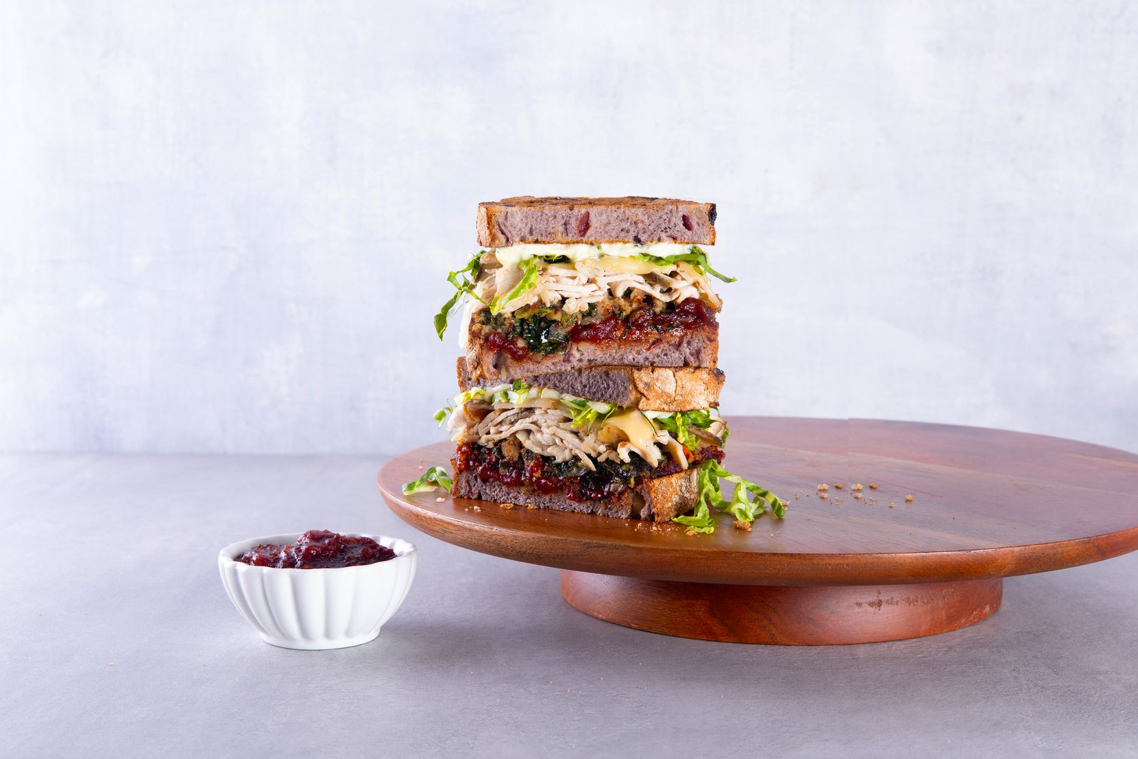 Mendocino Farms offers its November to Remember sandwich through Dec. 1, 2020. The sandwich includes warm carved turkey, housemade kale-mushroom-turkey sausage stuffing, ancho chile-cranberry chutney, havarti cheese, herb aioli and shredded romaine.
