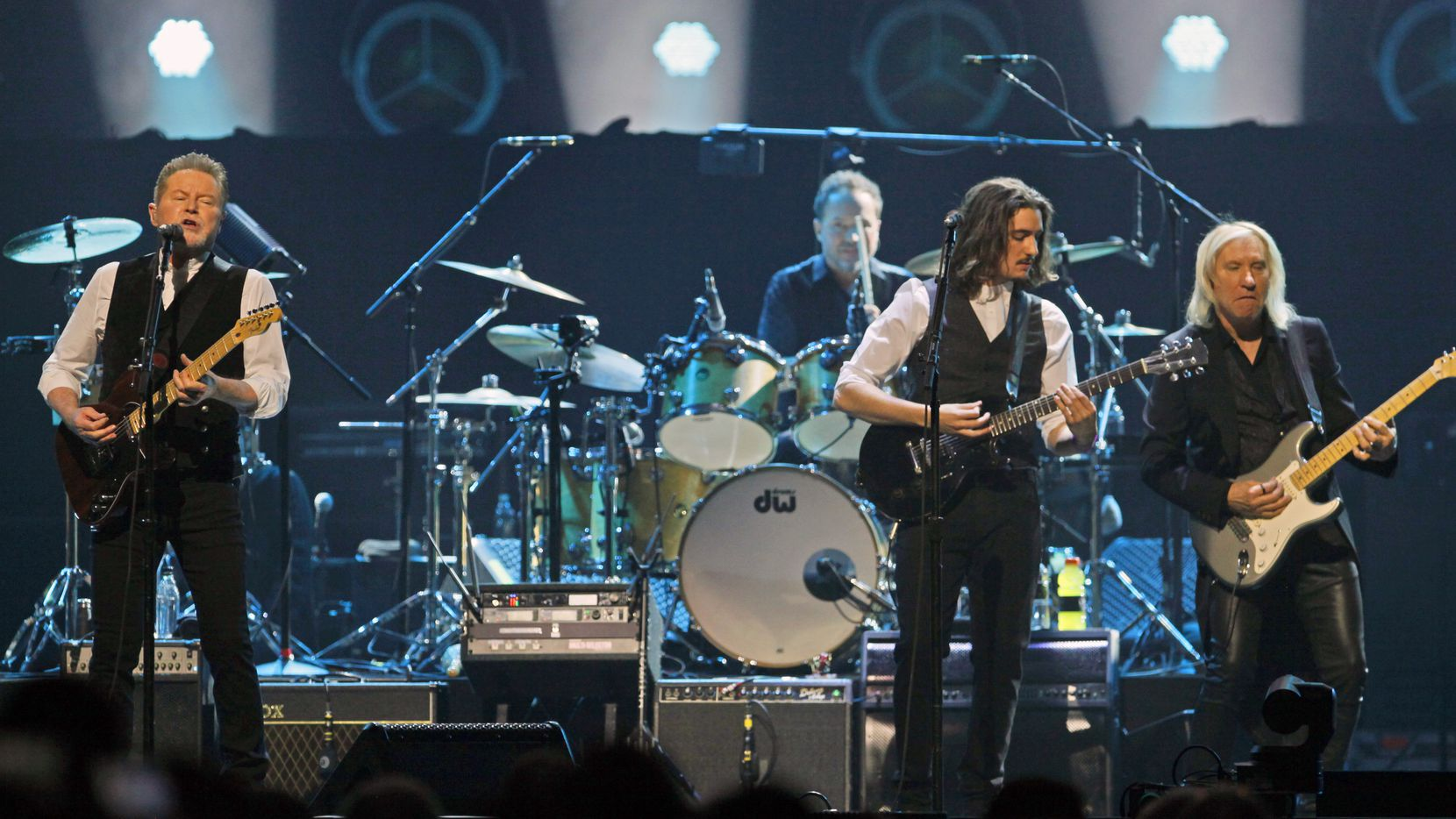 Don Henley, far left, performs with other members of the American rock band the Eagles at the American Airlines Center in Dallas, Saturday night Feb. 29, 2020.