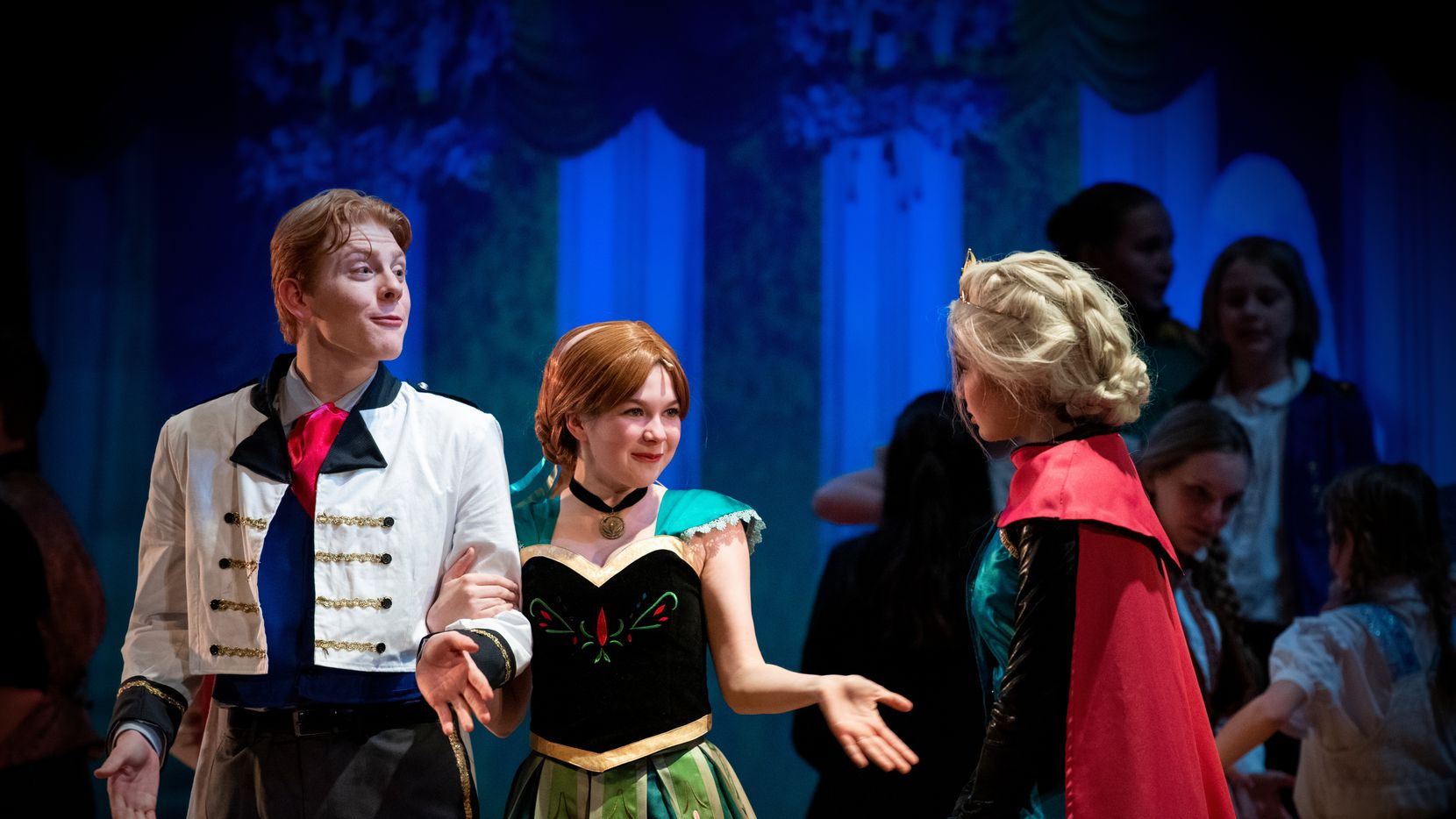 """Everest Pearson (Han), Sydney Enoch (Anna) and Tilda McSpadden (Elsa) appeared in """"Disney's Frozen Jr."""" at McKinney Youth Onstage in early March 2020."""