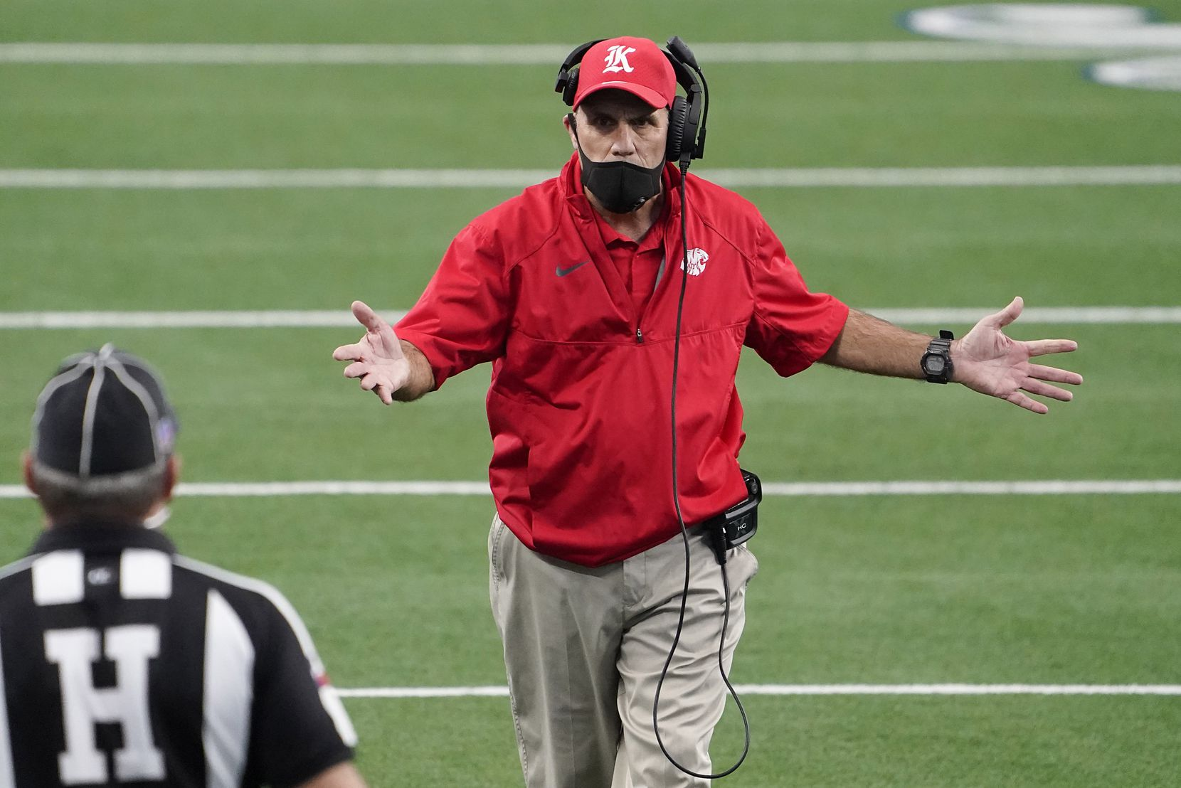 Katy head coach Gary Joseph argues a call during the first half of the Class 6A Division II state football championship game against Cedar Hill at AT&T Stadium on Saturday, Jan. 16, 2021, in Arlington, Texas.