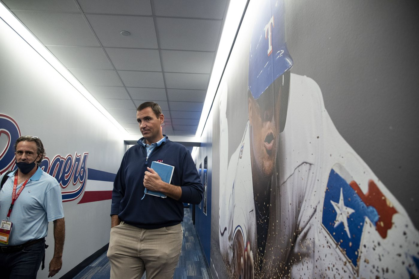 Texas Rangers Executive Vice President and General Manager Chris Young talks to a reporter during the Texas RangersÕ end of the year press conference at Globe Life Field on Wednesday, October 6, 2021 in Arlington, Texas. (Emil Lippe/Special Contributor)