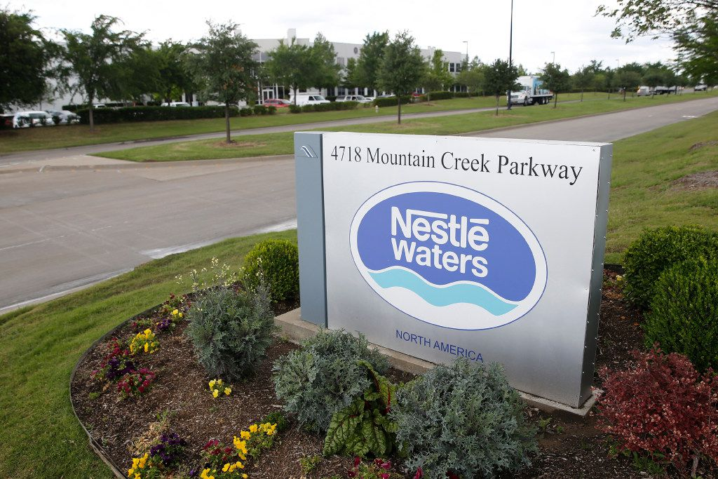 The sign for Nestle Waters in the Mountain Creek Business Park in Dallas on April 18, 2017. (Nathan Hunsinger/The Dallas Morning News)