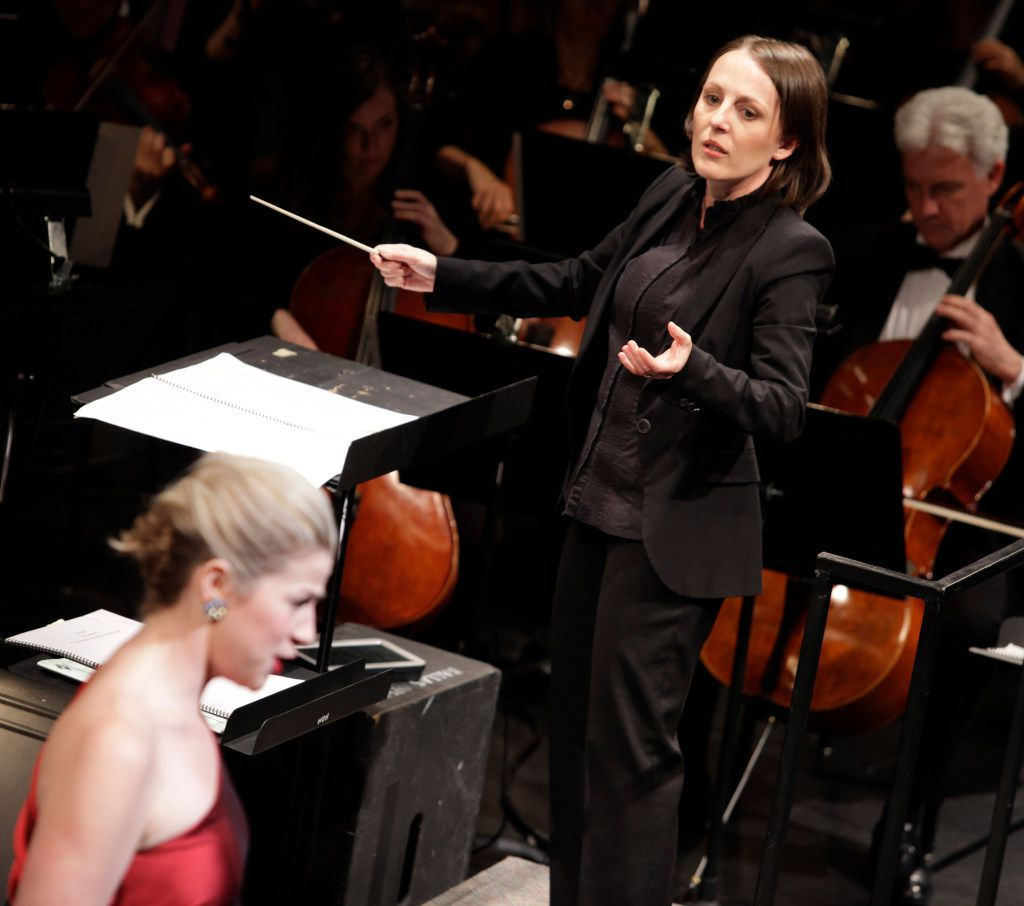 Mihaela Cesa-Goje conducts, with mezzo-soprano Catherine Martin, during the Institute For Women Conductors event at the Winspear Opera House in Dallas, TX, on Dec. 10, 2016. (Jason Janik/Special Contributor)