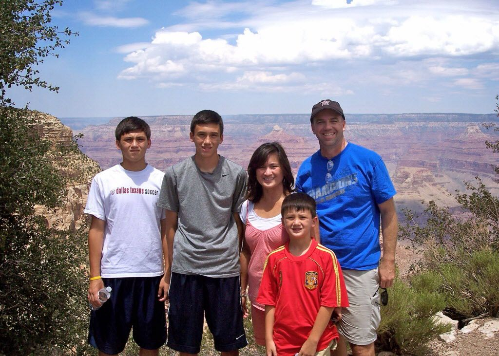 From left: Harper, Kellen, Caroline, Ty and John Reid  The family of Kellen Reid, the Coppell soccer player whose mom is battling cancer.    This photo was taken in the summer of 2011, right before her cancer diagnosis.