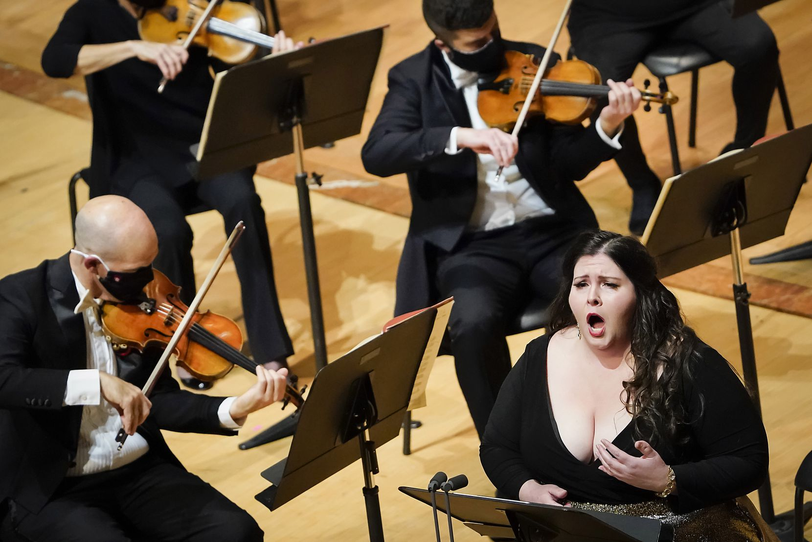 Soprano Angela Meade performs with the Dallas Symphony Orchestra in concert at the Meyerson Symphony Center on Thursday, Oct. 29, 2020, in Dallas.