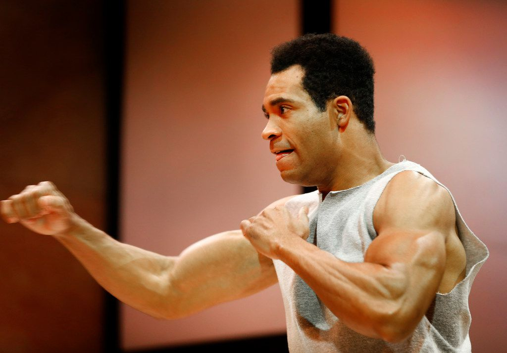 Preston Butler III as Muhammad Ali performs during a rehearsal for Dallas Theater Center's Fetch Clay, Make Man  at the Wyly Theatre in Dallas on Dec. 4, 2018.