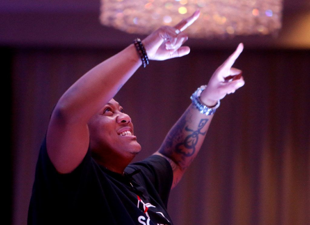 """Trenton Johnson lip-syncs to """"Glory"""" for the talent portion of the Mr. and Miss Black Trans International Pageant at the Dallas/Addison Marriott Quorum by the Galleria in Dallas on Thursday."""