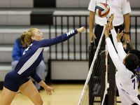 Flower Mound's Angelique Cyr (left) hits a shot during a three-set sweep of Denton Guyer on September 22, 2020.