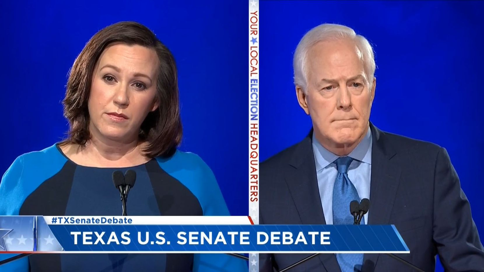 In this frame grab from video, incumbent Republican U.S. Sen. John Cornyn and Democratic nominee MJ Hegar, of Round Rock debate on Friday, Oct. 9, 2020, in Austin.