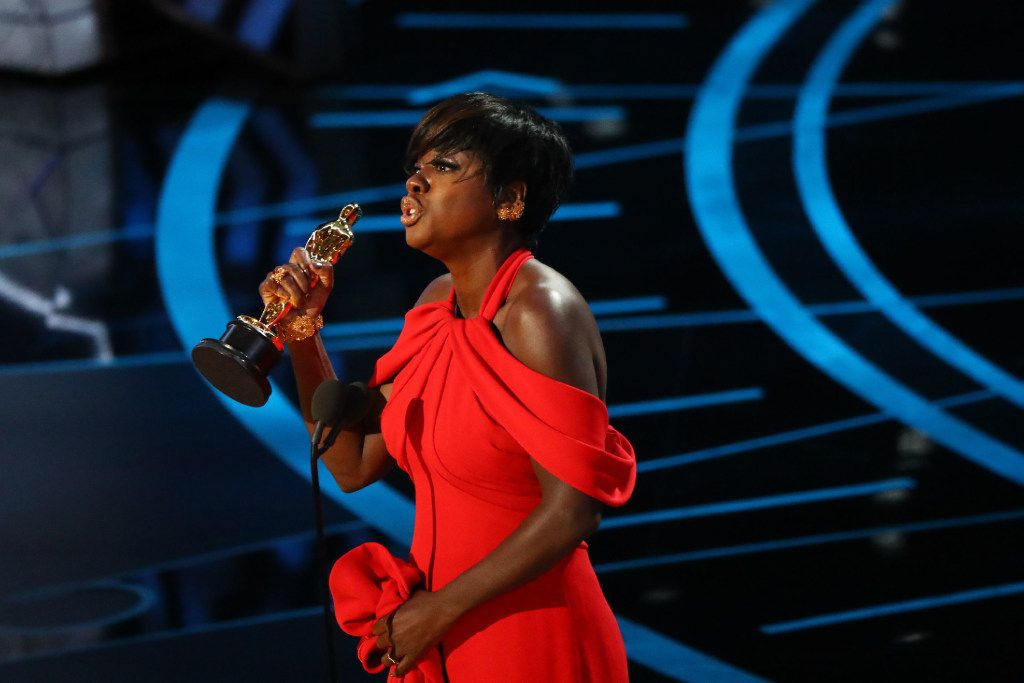 Viola Davis accepts the Oscar for best actress in a supporting role for her performance in 'Fences.' (Patrick T. Fallon/The New York Times)