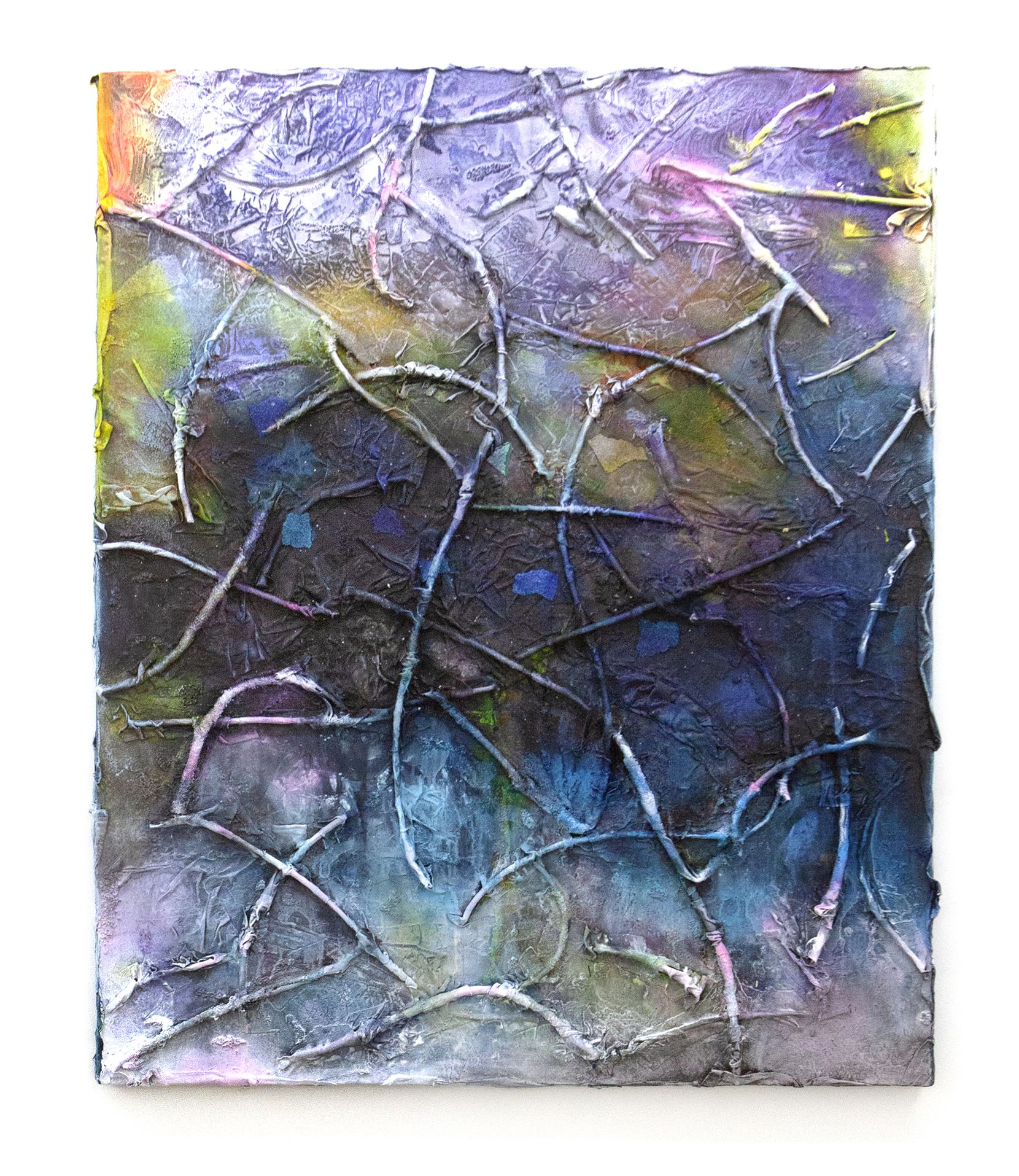 "Leslie Martinez's ""Ribs of a Disaster Gates Pass"" (2020) features tree branches, canvas scraps, flour sack fabric, hospital bed sheets, paper grocery bags, jersey shop rags, terrycloth rags, course ballast, mop fibers, pumice gel, paper pulp, paper and acrylic paint on canvas."