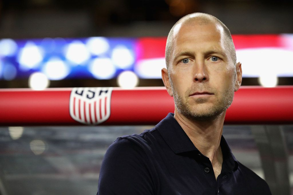 GLENDALE, ARIZONA - JANUARY 27:  Head coach Gregg Berhalter of United States stands on the sidelines before the international friendly against the Panama at State Farm Stadium on January 27, 2019 in Glendale, Arizona. (Photo by Christian Petersen/Getty Images)