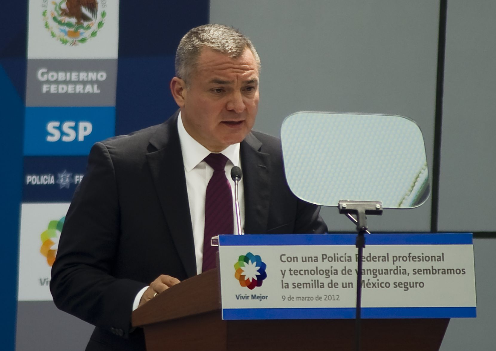 On March 9, 2012, former Mexican Secretary of Public Safety Genaro Garcia Luna spoke during the inauguration of the Federal Police's scientific division in Mexico City. (ALFREDO ESTRELLA/AFP via Getty Images)